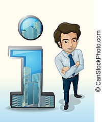 Illustration of a businessman standing beside the buildings inside the number one figure on a white background