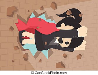 illustration of a Businesswoman breaking t the wall. Business concept illustration.