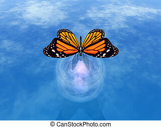 butterfly - illustration of a butterfly landing on a buble