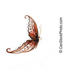 illustration of a butterfly, mixed medium, abstract color background