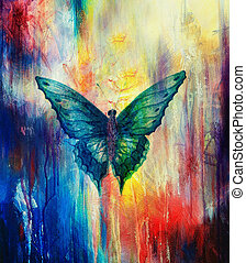 illustration of a butterfly, mixed medium, abstract color...
