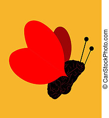 illustration of a butterfly with body as a brain and wings as hearts on a yellow background