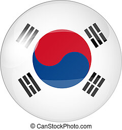 south korea - illustration of a button south korea