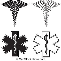 Illustration of a Caduceus and Star of Life medical symbols in black and white.