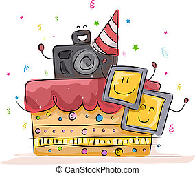 Illustration of a Cake with a Photography Theme