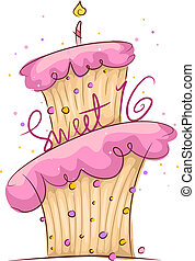 Sweet 16 - Illustration of a Cake with a Sweet 16 Sign