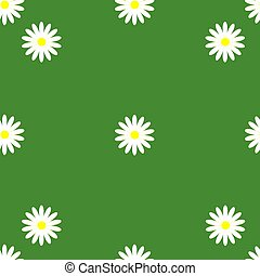 Illustration of a camomile pattern on a green background