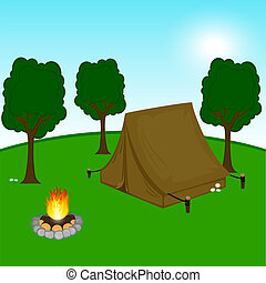 Illustration of a camping site