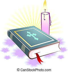 candle - Illustration of a candle and religious book in...