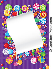 candy and sweets card - illustration of a candy and sweets...