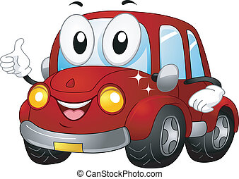 Car Mascot - Illustration of a Car Mascot Giving a Thumbs Up