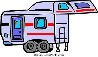 Illustration of a caravan on white