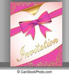 Illustration of a card with a pink ribbon for an invitation