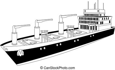 cargo ship - Illustration of a cargo ship of dry bulk...