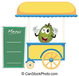 a cart stall and a jackfruit - illustration of a cart stall...