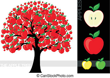 """Illustration of a cartoon apple tree isolated on white background, very useful for several concepts (font used is a """"open font license)"""