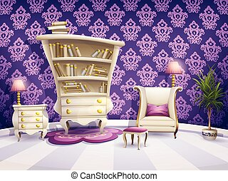 Illustration of a cartoon book cabinet with white furniture...