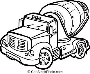 Cartoon concrete mixer. Border - Illustration of a Cartoon ...