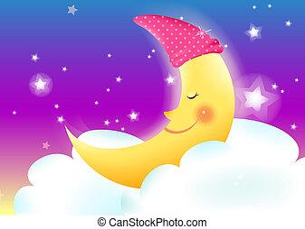 moon - illustration of a cartoon crescent moon smiling.