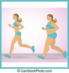 cartoon fat girl jogging