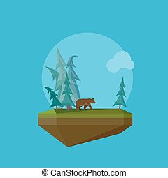 Illustration of a cartoon flying island with wild nature, forest and bear
