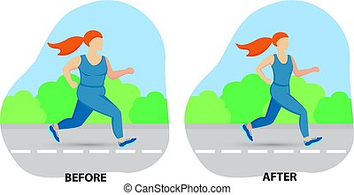 Illustration of a cartoon girl jogging, weight loss concept, before and after. Vector illustration.