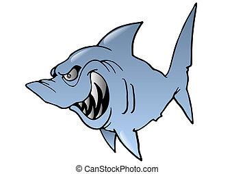 hideous Shark - illustration of a cartoon grey hideous Shark...