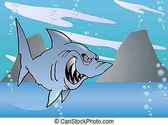 hideous Shark on sea - illustration of a cartoon grey...