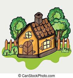 Illustration of a cartoon house