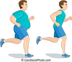 Illustration of a cartoon man jogging, weight loss concept,...
