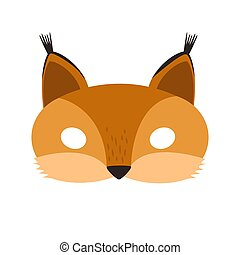illustration of a cartoon red-haired squirrel carnival mask of a forest animal.