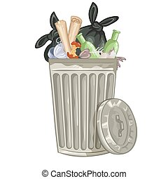 Illustration of a cartoon trash can