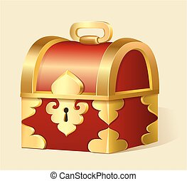 illustration of a cartoon treasure chest with gold trim