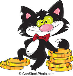 cat and money - illustration of a cat and money