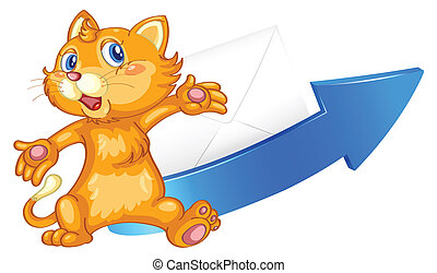 illustration of a cat arrow and envelop on a white