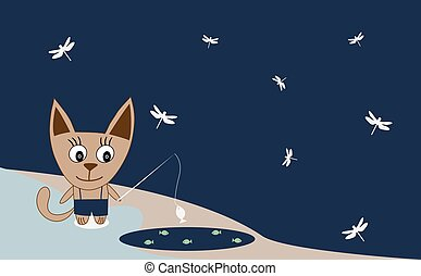 Illustration of a cat fishing