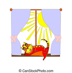 Illustration of a cat near the window