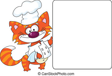 cat the cook and blank - illustration of a cat the cook and...
