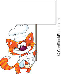 cat with a blank sign