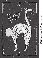 Illustration of a cat with the word Halloween