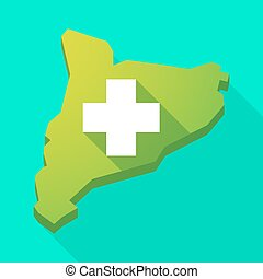 Catalonia long shadow vector icon map with a pharmacy sign