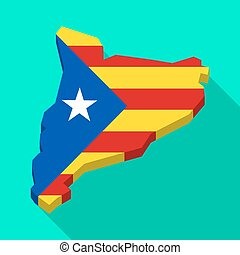 Catalonia long shadow vector icon map with the Estelafa flag...