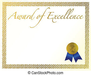 Award of Excellence - Illustration of a certificate. Award...