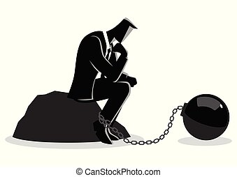 Illustration of a chained businessman