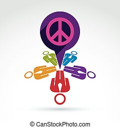 Illustration of a chat between group of people, hippy community. Harmony and freedom conceptual icon. International conference on peace theme, speech bubble symbol.