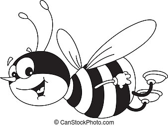 cheerful bee outlined - illustration of a cheerful bee ...