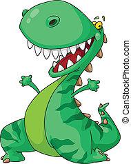 Illustration of a cheerful dinosaur