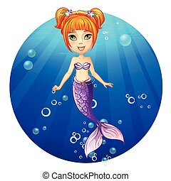 Illustration of a cheerful girl mermaid.
