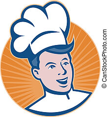 Illustration of a chef cook baker head set inside circle done in retro style.