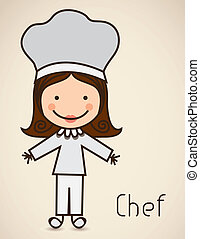 Illustration of a chef with a suit, cook icon, vector illustration